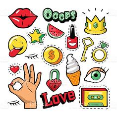 Fashion Badges, Patches, Stickers, Lips, Heart, Star in Comic Style royalty-free stock vector art