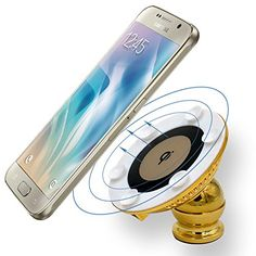 WOOCON Qi Wireless Car Charger Mount 360 Adjustable Magnetic Bracket With 12V Quick Charging Dual USB Charger Adhesive Antiskid Dashboard Holder Kit for Samsung Galaxy S6 S7 Edge Note 5 (GOLDEN) $5.00 * HIGH CHARGING EFFICIENCY AND SAFE - The WOOCON wireless car charger dock is applying with the original Panisonic chipsets to provide the most stable and highest charing efficieny. It can provide about 1000mAh charing speed when working together with our 12V/2A high speed car charger. The…