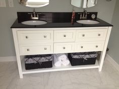 Beautiful Double Bowl Vanity with open shelving beneath.