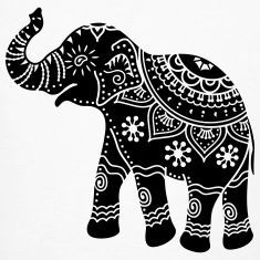 indian elephant art tattoo - would look great as paper cut. Indian Elephant Art, Elephant India, Indian Art, Silhouette Designer Edition, Dot Painting, Fabric Painting, Painting Tips, Abstract Paintings, Watercolor Painting