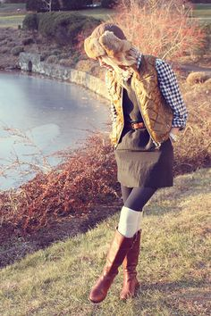 Vest: Jcrew. Top: Gap. Dress: BR. Tights: Hue. Socks: Urban Outfitters. Boots: BR. Jewelry: Michele, David Yurman, Gap, BR, Jcrew. Hat: Hatterdashers