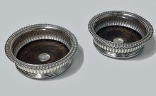 Georgian Sterling Silver Wine Coasters, Sheffield 1825, John Watson.