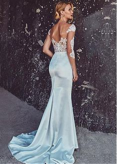 Junoesque Tulle & Acetate Satin Scoop Neckline Sheath See-through Wedding Dresses With Lace Appliques
