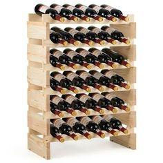 Shop Gymax 36 Bottle Modular Wine Rack 6 Tier Stackable Wooden Display Shelves Wobble-Free - Natural - On Sale - Overstock - 30088517 Wine Bottle Rack, Bottle Display, Wine Display, Display Shelves, Display Block, Wine Rack Inspiration, Wine Rack Design, Wine Rack Storage, Wood Wine Racks