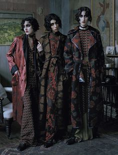 Vogue Italia December 2015 | Anna Cleveland, Christina Carey and Jamie Bochert by Tim Walker