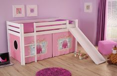 Half-high bed Pino - Castle - solid pine wood - with slide and textile set - cm RollerRoller Floating Entertainment Center, Tv Entertainment Centers, Tv Stand Designs, High Beds, Kiefer, Centerpiece Decorations, Solid Pine, Bedroom Storage, Decorating Your Home