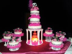mardi gras quinceanera theme cake Apostles Creed, Quince Cakes, Cake Tower, Cake Table Decorations, Small Wedding Cakes, Cool Cake Designs, Quinceanera Themes, Sweet 16 Cakes, Cake And Cupcake Stand