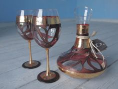 Hand Painted Glass,decanter,wine by Delyana on Etsy, $120.00
