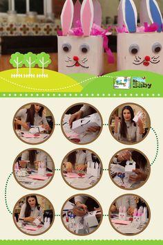 Cajitas de cartón en forma de conejo. Mamis, pueden encontrar este tutorial completo en https://www.youtube.com/watch?v=YlXLrd2798U