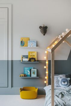 Boy's room in grey and yellow - Paul & Paula A grey and yellow boy's room. A bedroom designed for a little boy called Finn. A stylish room with a playful touch. And the house bed was the starting point Yellow Kids Rooms, Boys Room Design, Deco Kids, Toddler Rooms, Toddler Bed, Grey Room, Room Interior Design, Kids Bedroom, Childrens Bedrooms Boys