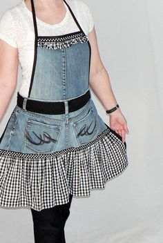uPcYcLeD Blue Jean Apron wtih Black Gingham Ruffles