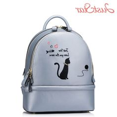 53.47$  Watch now - http://ali4ms.worldwells.pw/go.php?t=32774104298 - JUST STAR Women Backpack Female Ladies PU Leather Cartoon Cat Rivet Daily Travel Shoulder Bags Girl's Brand School Bags JZ4160 53.47$