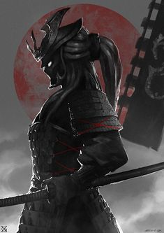 'Dark Samurai Warrior' by Ronin Samurai, Samurai Warrior, Female Samurai, Ninja Warrior, Samurai Tattoo, Ronin Tattoo, Dark Fantasy, Fantasy Art, Geisha Tattoos