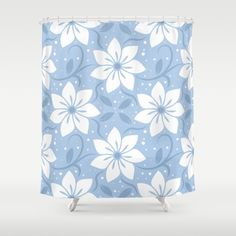 Magical Blue Flower Pattern Shower Curtain by pixaroma Flower Patterns, Blue Flowers, Iphone Cases, Curtains, Mugs, Pillows, Stuff To Buy, Shirts, Design