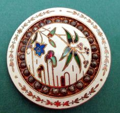 LG ANTIQUE ENAMEL BUTTON - FLORAL THEMED with CUT STEEL DOUBLE BORDER