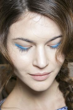 Bright blue eyeshadow @Temperley London Fall 2014 #NYFW