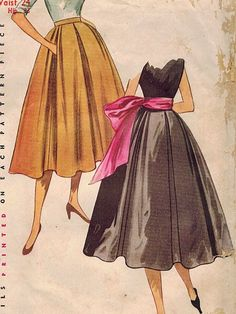 1950s Simplicity 4252 Vintage Sewing Pattern Misses Skirt and Sash Size Waist 24