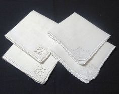 2 Sets of White Linen Vintage Tea Luncheon or by VictorianWardrobe, $8.00
