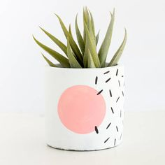 80's Style Memphis design small planter for succulent or cactus - modern abstract geometric