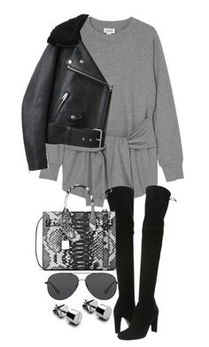 """Untitled #20370"" by florencia95 ❤ liked on Polyvore featuring Monki, Stuart Weitzman, Acne Studios, Yves Saint Laurent and Michael Kors"
