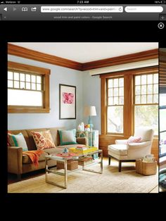 Our house has similar-toned wood trim, so I'm glad to get ideas for rooms with non-white/non-painted trim!