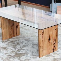 Custom Glass Top Table - YARD Furniture Recycled Timber Furniture Melbourne Australia Custom
