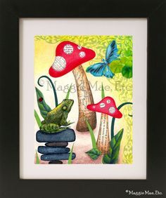 Toadstool, Frog, Butterfly Collage Print. $14.00, via Etsy.