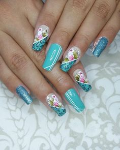 19 Fotos de Unhas Decoradas com Rosas Acrylic Nail Designs, Nail Art Designs, Acrylic Nails, Spring Nail Art, Spring Nails, Flower Nail Art, Finger, Stylish Nails, Creative Nails