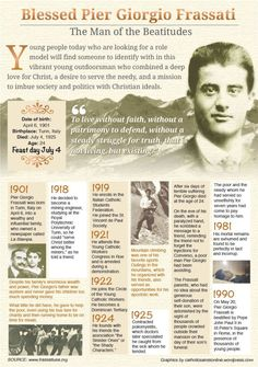 """Saint of the Day – 4 July – Blessed Pier Georgio Frassati T. """"The Man of the Eight Beatitudes"""", Apostle of Charity and Love, layman, Apostle of the Holy Eucharist and Eucharist Adoration, also. Catholic Quotes, Catholic Prayers, Catholic Art, Catholic Saints, Religious Quotes, Roman Catholic, Religious Images, Catholic School, Patron Saints"""