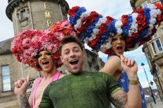 Blue's Duncan James with Priscilla Queen of the Desert gumbies Adam Lyons and Martin Harding at the Sunderland Empire.