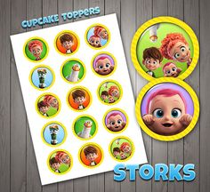 15 Storks Cupcake Toppers, Birthday Toppers, Kids Decor, Stickers, Digital Download.