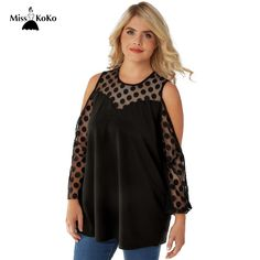Aliexpress.com : Buy Misskoko Women Plus Size Lace Blouse Polka Dot Cold Shoulder Female Tops O Neck Casual Pullovers Big Size 3XL 4XL 5XL 6XL 7XL from Reliable Blouses & Shirts suppliers on MissKoKo Store
