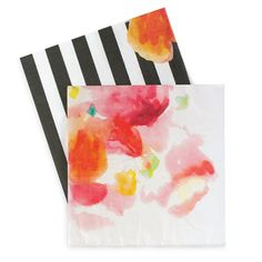 "LARGE FLORAL ESCAPE PAPER NAPKINS - These 3-ply premium quality napkins with a pretty floral print mixed with a black and white stripe pattern are perfect for an elegant baby shower, bridal shower or any other special event.  Boutique style partyware by Paper Eskimo Each pack includes 20 paper napkins. 3-ply premium quality Napkin dimensions are approx. 6.5"" x 6.5"" (folded)."