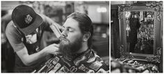 groom getting ready at barbershop Sarah Jozsa Photography