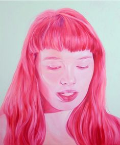 i love this so very very much. huge scale pink portrait by jen mann