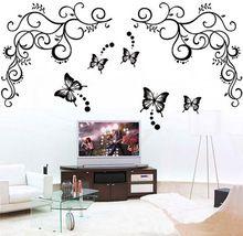 Novo & Modern vodotesné Home Decor Butterfly Feifei Flower Wall Samolepky Vyberateľný Vinyl obtisky (Čína (pevninská časť))