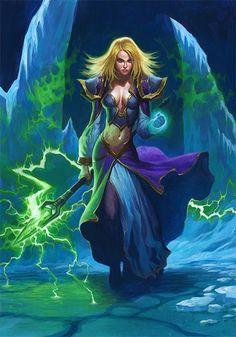 Jaina Proudmoore Hearthstone World of Warcraft® World Of Warcraft, Art Warcraft, Warcraft Legion, Fantasy Women, Fantasy Girl, Dark Fantasy, Fantasy Wizard, Fantasy Warrior, Blizzard Warcraft