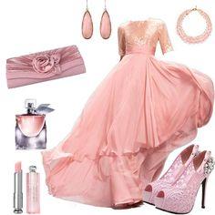 Goroeous chiffon prom dress with fashional high-heeled shoes