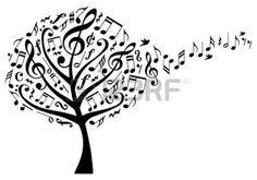 art graphique arbre: arbre de la musique avec des clés de sol et de vol des notes de musique, illustration vectorielle