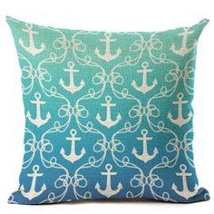 Nautical Anchor Design Decorative Pillow Case Cover x - Cove Cotton Rustic Decorative Pillows, Decorative Pillow Cases, Nautical Anchor, Throw Pillows, Cover, Cotton, Design, Cushions, Decorative Pillows