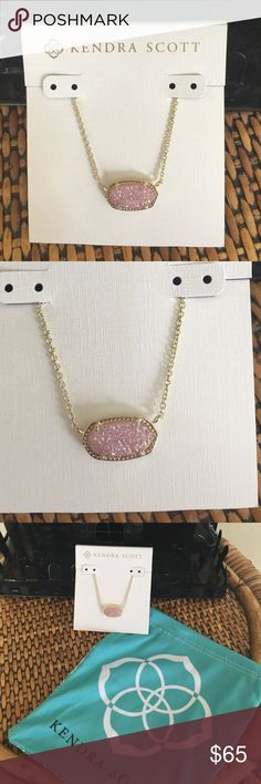 """KENDRA SCOTT ELISA NECKLACE Brand new with tags.  Gorgeous Pink Drusy!!    • 14K Gold Plated Over Brass • Size: 0.63""""L x 0.38""""W stationary pendant, 15"""" chain with 2"""" extender • Lobster claw closure • Material: light pink drusy*  TRADESOFFERS Kendra Scott Jewelry Necklaces"""