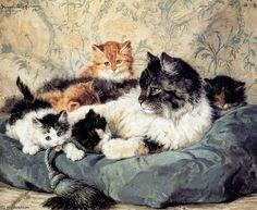 soleil rêverie de Henriette Ronner Knip (1821-1909, Netherlands)