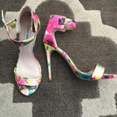 Steve Madden - Marlene Satin on leather 5 inch heeled sandal, worn once Steve Madden Shoes Heels