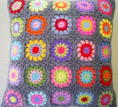 the 25 colors in grey granny sqaures cushion by handmadebyria, $40.00