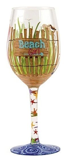 Lolita Beach Girl Artisan Hand Painted Wine Glass