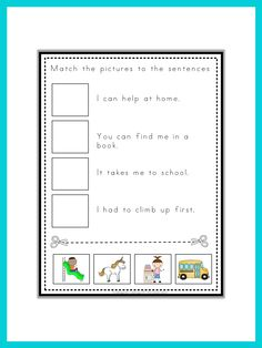 kindergarten and first grade cut and paste activity this set has 20 fun and challenging read. Black Bedroom Furniture Sets. Home Design Ideas