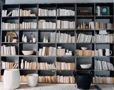 Backwards books to make this space pretty and neutral.