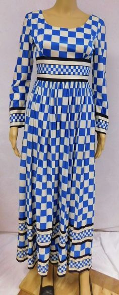 Vintage 60s 70s Dress Maxi Checkered Pop Op Art Novelty Prom Geometric Unique #Maxi #Prom
