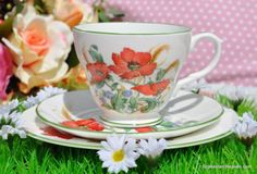 Duchess Red Poppies and Green Rims Vintage Bone China Teacup Trio c.1960s