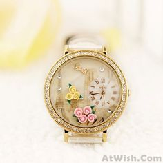 Wow~ Awesome Paris Tower Flower rhinestone retro watch! It only $40.9 at www.AtWish.com! I like it so much<3<3!